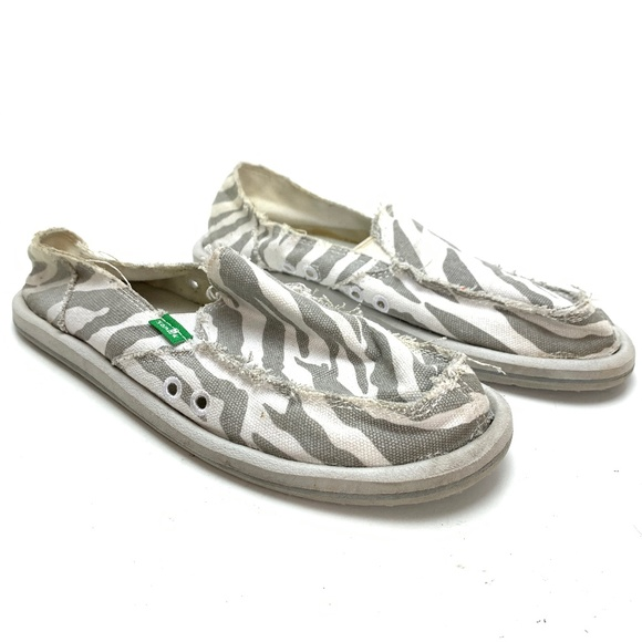 SANUK Gray Zebra Loafers Flats Boat Shoes Casual 7